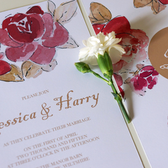 Velvet Rose Wedding Invitations - Wedding Invitation - Tamsin Yates Wedding Stationery - About to be Hitched