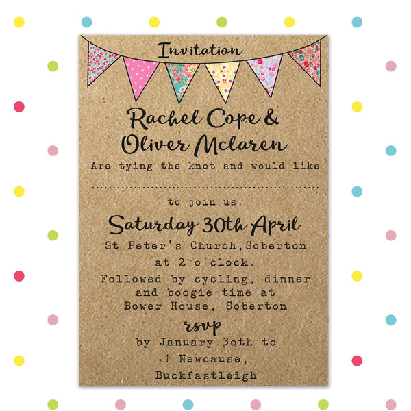 Beautiful Bunting - Invite - Wedding Invitation - Forever Lasting Invites - About to be Hitched
