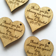Custom Wedding Favour Hearts - Wooden (Large)
