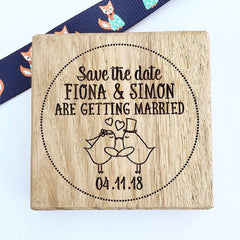 Wooden Rubber Save the Date Stamp with Birds