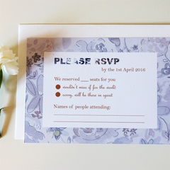 Grey Blossom RSVP Cards - RSVP - Tamsin Yates Wedding Stationery - About to be Hitched