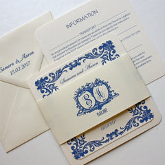 French Blue with Vintage Border - Wedding Invitation - Claryce Design - About to be Hitched