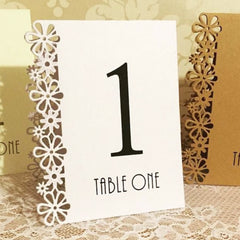 Floral Laser Cut Table Numbers (numbers 1-15)