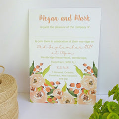 Blush Rose Romantic Watercolour - Wedding Invitation - Claryce Design - About to be Hitched