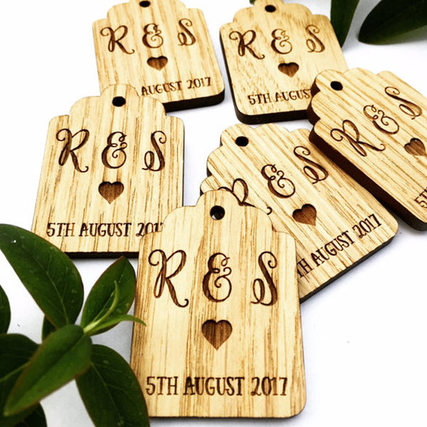 Initials Vintage Shaped Tags (wooden)
