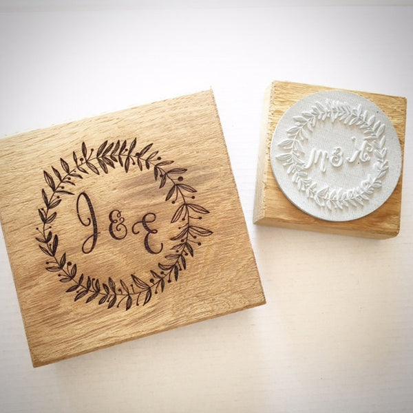 Wooden Rubber Stamp with Initials and Wreath