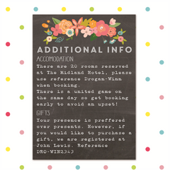 Chalk & Cheese - Additional Information - Other Wedding Stationery - Forever Lasting Invites - About to be Hitched
