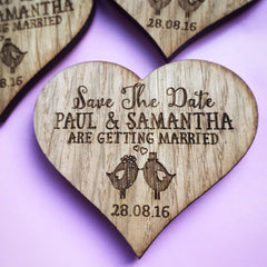 Rustic Wooden Heart Save the Date Magnets with Birds