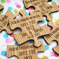 Jigsaw Puzzle Piece Save the Date Magnets (Wooden)