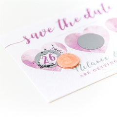 Scratch Off Save the Dates - Hearts