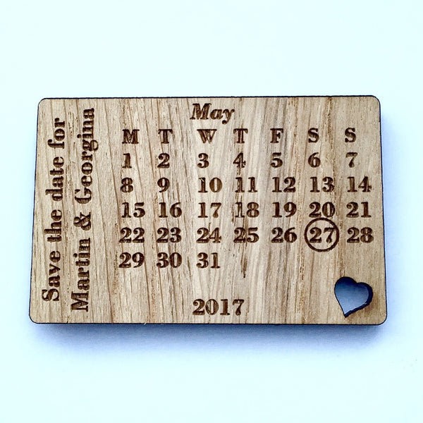 Wooden Save the Date Magnet – Rustic Calendar Wedding Announcement