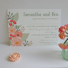 Blush and Aqua Floral Wedding Invitation - Wedding Invitation - Claryce Design - About to be Hitched
