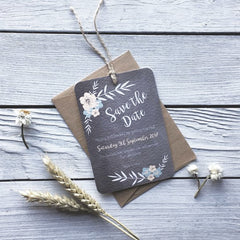 Floral Chalkboard Save the Date