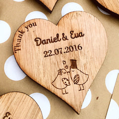 Wooden Heart Custom 'Thank You' Magnet Wedding Favours