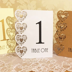 Hearts Laser Cut Table Numbers (numbers 1-15)