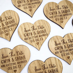 Heart Themed Wooden Save the Date Magnets
