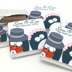 Cute Penguins Chocolate Wedding Favours (Personalised)