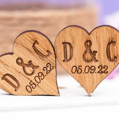 Initials & Date Wooden Wedding Favour Hearts / Table Decorations