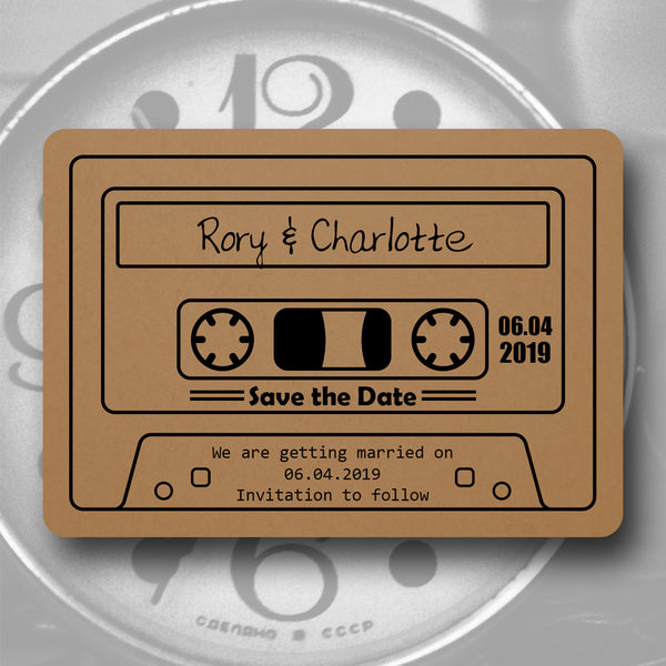 Save the Date Madness - Retro Cassette Tape Save the Date on Kraft Card