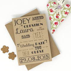 Save the Date Madness - Typography Rhyme Save the Date (on Kraft card)