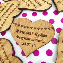 Bunting Wooden Save The Date Magnet Wedding Announcement Heart