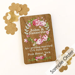 Floral Wooden Save the Date Magnet (Sample Only)