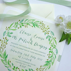 Green Leaf Garland - Wedding Invitation - Claryce Design - About to be Hitched