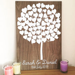 Tree of Hearts Plaque Alternative Guestbook (Wooden)