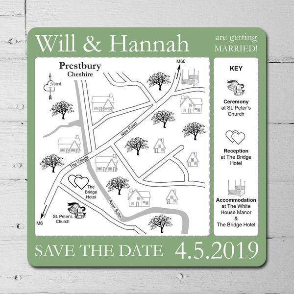You have reached your destination – Textured Linear Card Save the Date Map