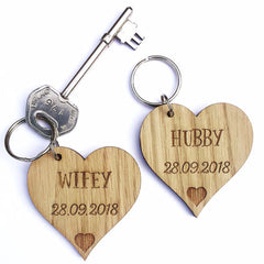 Wooden Heart Shaped Keyrings (Personalised)