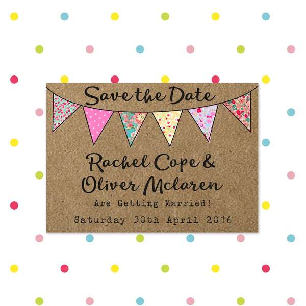 Beautiful Bunting - Save the Date - Save The Date - Forever Lasting Invites - About to be Hitched