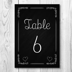 Chalkboard Table Number - Table Name / Number - Personalised Designs - About to be Hitched