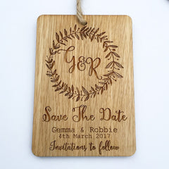 Wooden Save the Date Tag with Initials Motif