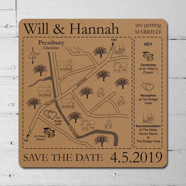 You have reached your destination – Kraft Card Save the Date Map