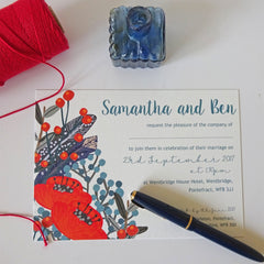 Blue Feather and Red Poppy Wedding Invitation - Wedding Invitation - Claryce Design - About to be Hitched
