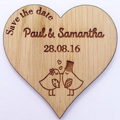 Wooden Heart Custom Save The Date Magnets