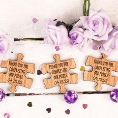 Customised Wooden Jigsaw Puzzle Pieces Wedding Table Decor / Favours - Thank you