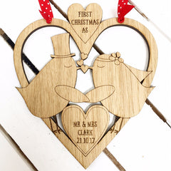 Wooden Personalised Christmas Decoration - First Christmas (Birds)