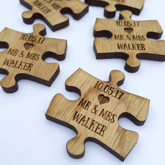 Laser Engraved Wooden Jigsaw Puzzle Table Decorations / Wedding Favours