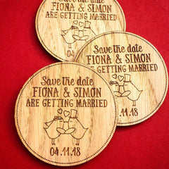 Wooden Circle Personalised Save the Date Magnets with Birds - Save The Date - Manta Makes - About to be Hitched
