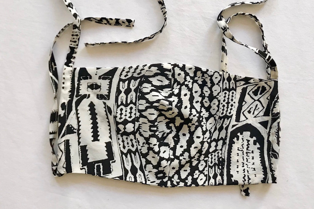Protective Face Mask - Black White Aztec Print Silk