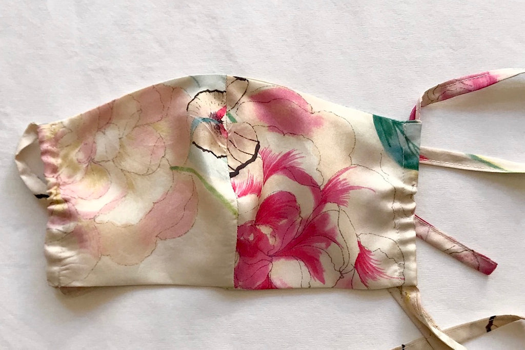 Protective Face Mask - Butterfly Peony Print Silk