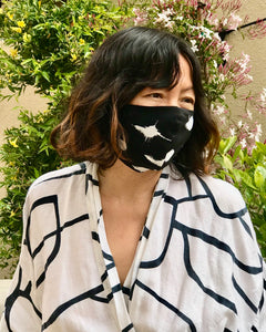 Protective Face Mask - Black Abstract Dot Print Silk