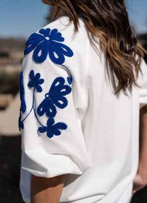 Ivory Embroidered Puff Sleeve Sweater