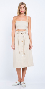 White Linen Button Skirt