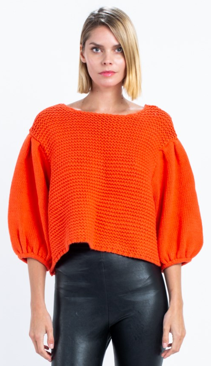 Tomato Red Puff Sleeve Crop Sweater