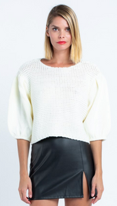 Ivory Puff Sleeve Crop Sweater