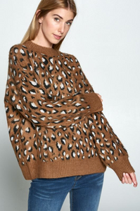 Brown Furry Leopard Sweater