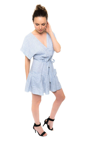 Cassie Dress - Blue White Stripe Linen