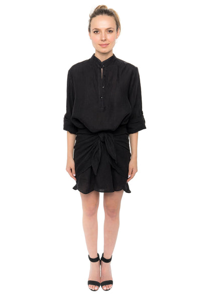 Bijoux Dress - Black Linen